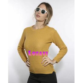 Sweater Grueso De Hilo Tejido Cuello Redondo