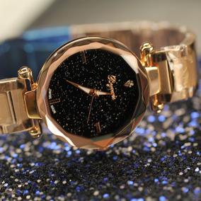 Elegante Reloj Mujer Original Negro Dorado Dama Universo