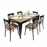 Comedor Con 6 Sillas De Madera Y Metal En Color Negro Tecno