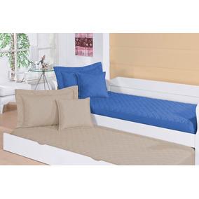 Colcha Pratic Cáqui Ou Azul P/ Beliches E Bicamas 4 Pçs Solt