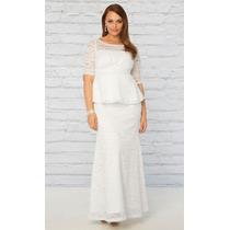 Plus Size Sob Medida Vestido Noiva Conjunto Peplum Renda