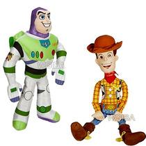 Kit 2 Boneco Pelucia Toy Story Buzz Lightyear E Cowboy Wood