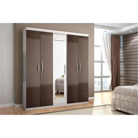 Armário Bartira Parma Com 5 Portas E Espelho Branco/ciliégio