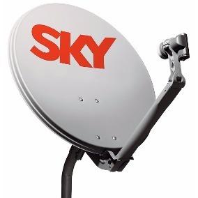 Kit Antena Sky 60cm + Lnb Duplo Univ + Kit Cabo 17m