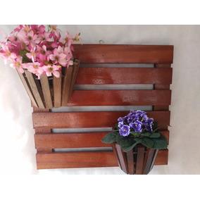 Suporte Vertical Para Flores Plantas Em Madeira 2 Vasos 031