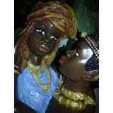 Figura Africana Con Busto En Yeso 28 Cm