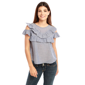 Blusa Chambray Manga Corta Off-shoulder Damas Rose Fashion