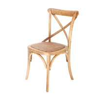Cadeira Cross Estrutura De Madeira Assento De Palha Estofado