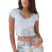 Remera Lisa Mujer Escote V Manga Corta Escotado