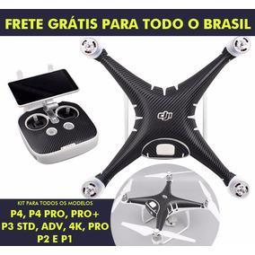 Kit Adesivos Dji Phantom 4, 4 Pro, Pro Plus Fibra De Carbono