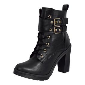 botas bajo zapatos botas militares 4 cm negro elegantes como piel 9426