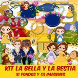 Kit Imprimible La Bella Y La Bestia Pack Fondos Cliparts