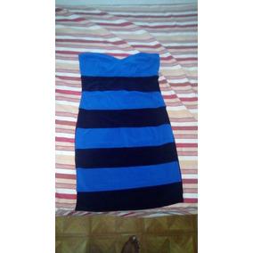 Vestido De Fiesta De Rayas Azul Y Negro Strappless