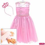 Vestido Infantil Princesa Aurora Realeza Barbie Coroa Luvas
