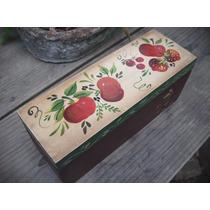 Adorno, Caja De Té, Pintada A Mano, Manzanas