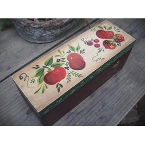 Caja De Madera, Adorno, Caja De Té, Pintada A Mano, Manzanas