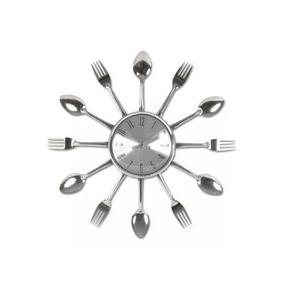 Relógio Parede Cozinha Formato Talheres Prata !
