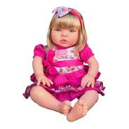 Boneca Tipo Bebê Reborn Baby Kiss Brinquedo Morena E Loira