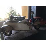 Replica Moto Vespa Antigua Chapa Con Sidecar No Auto 45cm