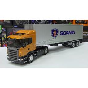 1:32 Scania R470 C Caja Seca Contenedor Welly Trailer Chato
