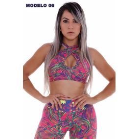 Top Feminino Fitness Trançado Estampado Malhar Sexy Barato