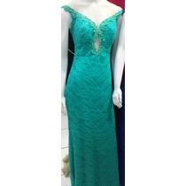 Lindo Vestido Festa Madrinha Casamento Ombro Verde Tiffany