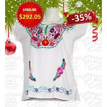 Blusa Mexicana Para Navidad Bordada Elegante