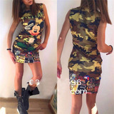 Vestido Tierno Militar Mickey Mouse Mujer Chica Casual