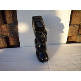 Figura De Ídolo Prehispánico En Obsidiana Dorada 19 Cms.