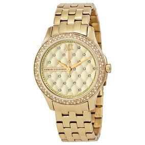 Reloj Ax Para Dama Ax5216 Dorado C/brillantes 100% Original