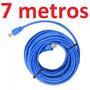 Cabo Rede Cat6 Azul 7m Giga Metros Internet Net Utp Montado