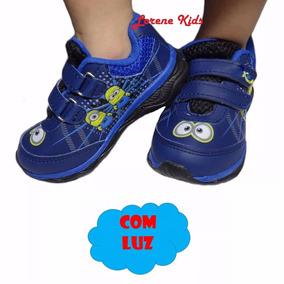 Tênis Infantil Acende Pisca Luz S/ Cadarço Fantasia Minions
