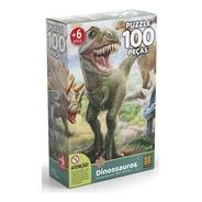 Quebra Cabeça Puzzle 100 Pçs - Dinossauros - Grow
