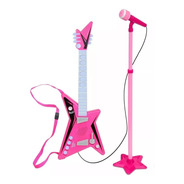 Guitarra Musical Con Pie Y Microfono Rosa O Azul Nene Nena