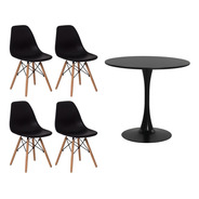 Conjunto Kit 4 Cadeiras Eiffel Eames+ 1 Mesa Saarinen Tulipa