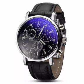 Lindo Relógio Masculino Pulseira Em Couro Ecológico