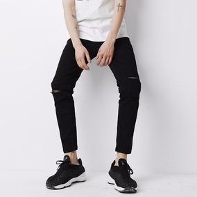 Jeans Strech De Hombre Negro Rotos