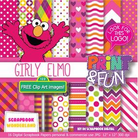 Kit Imprimible Elmo Plaza Sesamo Fondos Cliparts Niña