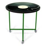 Mesa Lateral Cinara Digital Disco Com Roda Preto E Verde