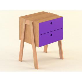 Mesa De Luz Nórdica Madera/violeta Guaco - 0,45x0,40x0,66