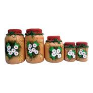 Vidros Decorados Biscuit Conjunto 5 Peças Envio Imediato