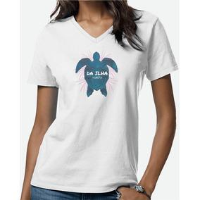 Camiseta Feminina Turtle Sea Blue Da Ilha Floripa Gola V 6c17010dc9c4e