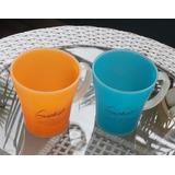 2 Vasos Plasticos Color Naranja Y Azul