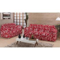 Capa De Sofa Estampada 2 E 3 Lugares Elasticada Varias Cores