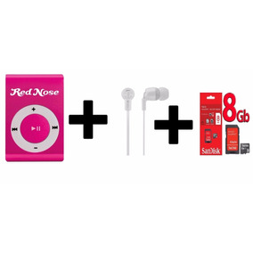 Kit Mp3 Player Red Nose Rosa + Fone + Cartão 8gb +adaptador