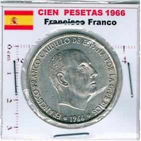 Moneda Plata Franco 100 Pesetas 1966 España Ea4