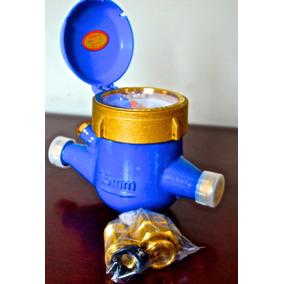 Medidor De Agua De 1/2 En Bronce Con Niples Coples Empaques