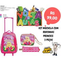 Kit Mochila Rodinha Debie Princess + Lancheira + Estojo