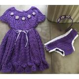 Conjunto: Vestido + Calcinha + Tiara Em Crochê Para Criança