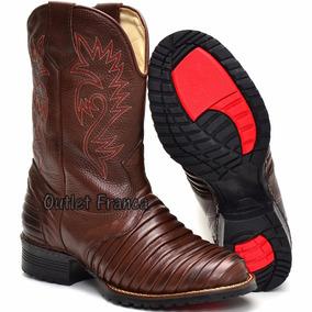 Bota Masculina Texana Barato Couro Legitimo Escamada 37 Á 44